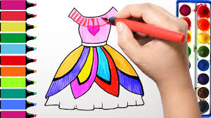 Pretty Colors Draw Color Paint Pretty Dress Coloring Pages And Learn Colors For