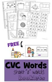free cvc words worksheets cut and paste to make a book includes