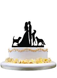 wedding cake topper with dog cake toppers and groom with 3 dogs wedding cake