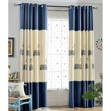 Blue And Beige Curtains Blue Rainbow Embroidery Cotton And Velvet Thermal Curtains