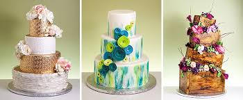 and unfrosted wedding cakes
