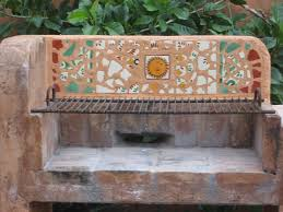 Outdoors Home Decor Mexican Tile Mosaic In An Outdoors Fireplace Mexican Home Decor