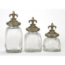 de lis glass canister set