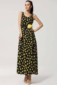 yellow floral print sleeveless maxi dress casual dresses women