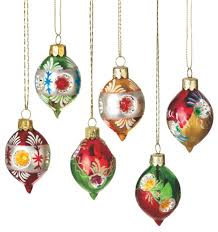 set of 6 retro style reflector glass drop ornaments 2 75