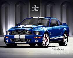 mustang 2007 shelby 2007 ford mustang shelby gt500 drawing by danny whitfield