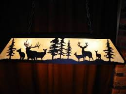 rustic pool table lights large laser cut steel elk mule deer pool table light l rustic