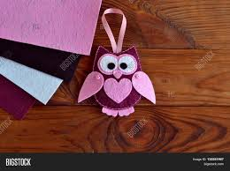 Sewing Patterns Home Decor Burgundy And Pink Felt Owl Toy Owl Ornament Stuffed Owl Sewing