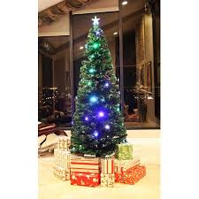 8 ft pre lit multi color led fiber optic tree bright