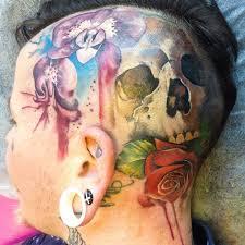 aquarelle skull rose head tattoo design best tattoo ideas gallery