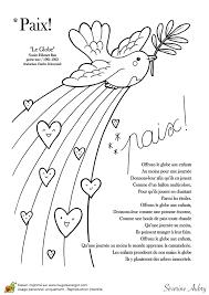 Coloriage sur le thème de la paix la colombe
