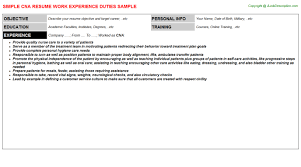 Sample Resume For Cna With Objective by Cna Description Allows 4 Cna Resume Responsibilities Description
