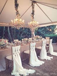 Cheap Wedding Chair Covers 2018 Romantic Wedding Chair Sashes White Ivory Celebration