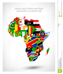 World Map Of Africa by Vector Map Of Africa With Flags And Location On World Map Stock