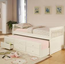 Captains Bed Twin Size White Classic Daybed In Twin Size With Pull Out Trundle And