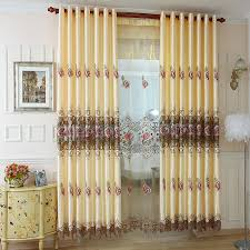Insulated Window Curtains Beige Floral Embroidery Polyester Beautiful Insulated Window Curtains