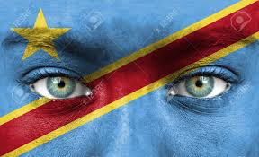 Dr Congo Flag Human Face Painted With Flag Of Democratic Republic Of Congo Stock