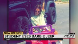 jeep barbie college student uses barbie jeep as car after dwi