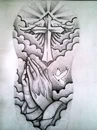 half sleeve cross n rose tattoo design