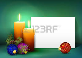 single candle with whitepaper panel on red background advent