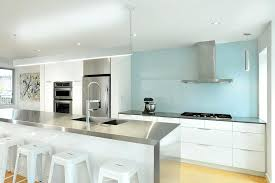 Blue Glass Kitchen Backsplash White Kitchen Cabinets With Blue Glass Backsplash Glass Kitchen