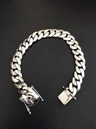 solid sterling silver mens bracelet images Mens cuban miami link bracelet 925 sterling silver 12mm 60 grams jpg
