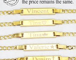 Baby Name Plate Bracelet Baby Id Bracelet 14k Gold Fill Custom Engraved Bar Nameplate