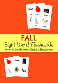 Words Cards Fall Sight Words Flashcards Look We U0027re Learning
