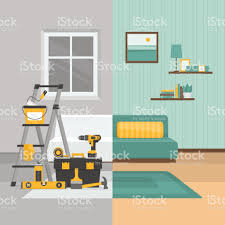 home interior vector room before and after repair home interior renovation flat style