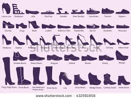 womens boots types set different types womens shoes silhouette stock vector 432591958