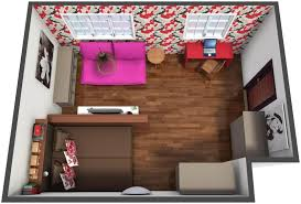 aerial view of a 3d floor plan for a cozy colorful studio
