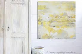 Canvas Art Print Yellow Grey Abstract Painting Modern Coastal Gold