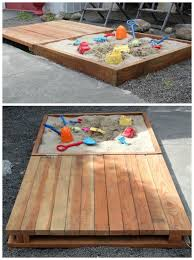 diy sandbox projects with pallets kids seating bench covers and