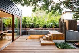 Modern Patio Design Floor Modern Decks With Steps And Wood Wall Siding Plus Glass