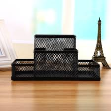 Black Wire Mesh Desk Accessories Black Cube Metal Stand Mesh Style Pen Pencil Ruler Holder Desk