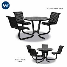 outdoor chair with table attached 42 inch outdoor table ada universal access with attached chairs