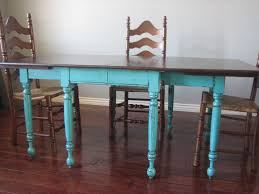 European Paint Finishes Teal Dining Table  Ladderback Chairs - Painting a dining room table