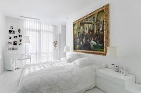 bedroom lovely white walls and bed for elegant bedroom 3d