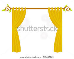 Yellow Drapery Pink Curtains On White Background Blinds Stock Vector 517480012
