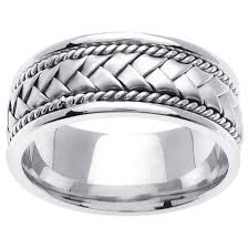 braided wedding bands 8 5mm handmade rope flat woven men s wedding band 14k white