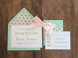 mint wedding invitations items similar to wedding invitations mint and blush on etsy