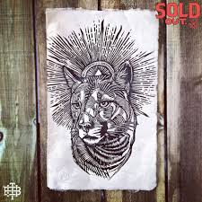 lion print mountain lion a3 lino print limited edition