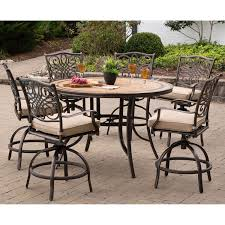 Tile In Dining Room by Monaco 7 Piece High Dining Bar Set In Tan With 56 In Tile Top