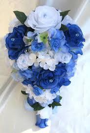 wedding flowers royal blue wedding bouquet bridal silk flowers cascade royal blue white