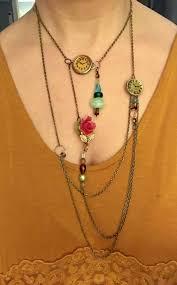 steampunk necklace vintage images Vintage steampunk charm handmade asymmetrical layered statem jpg