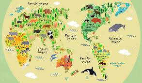 Map Of Equator Animal Map Of The World For Children And Kids Royalty Free