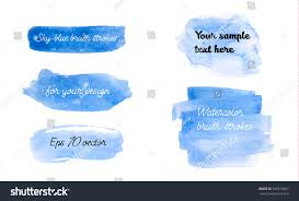 set blue watercolor brush strokes skyblue stock vector 566520001