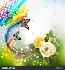 Roses And Butterflies - background roses butterflies stock vector 107417729