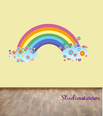 large wall decals etsy reusable rainbow wall decal childrens fabric extra large