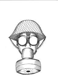 drawn gas mask illustrator pencil and in color drawn gas mask